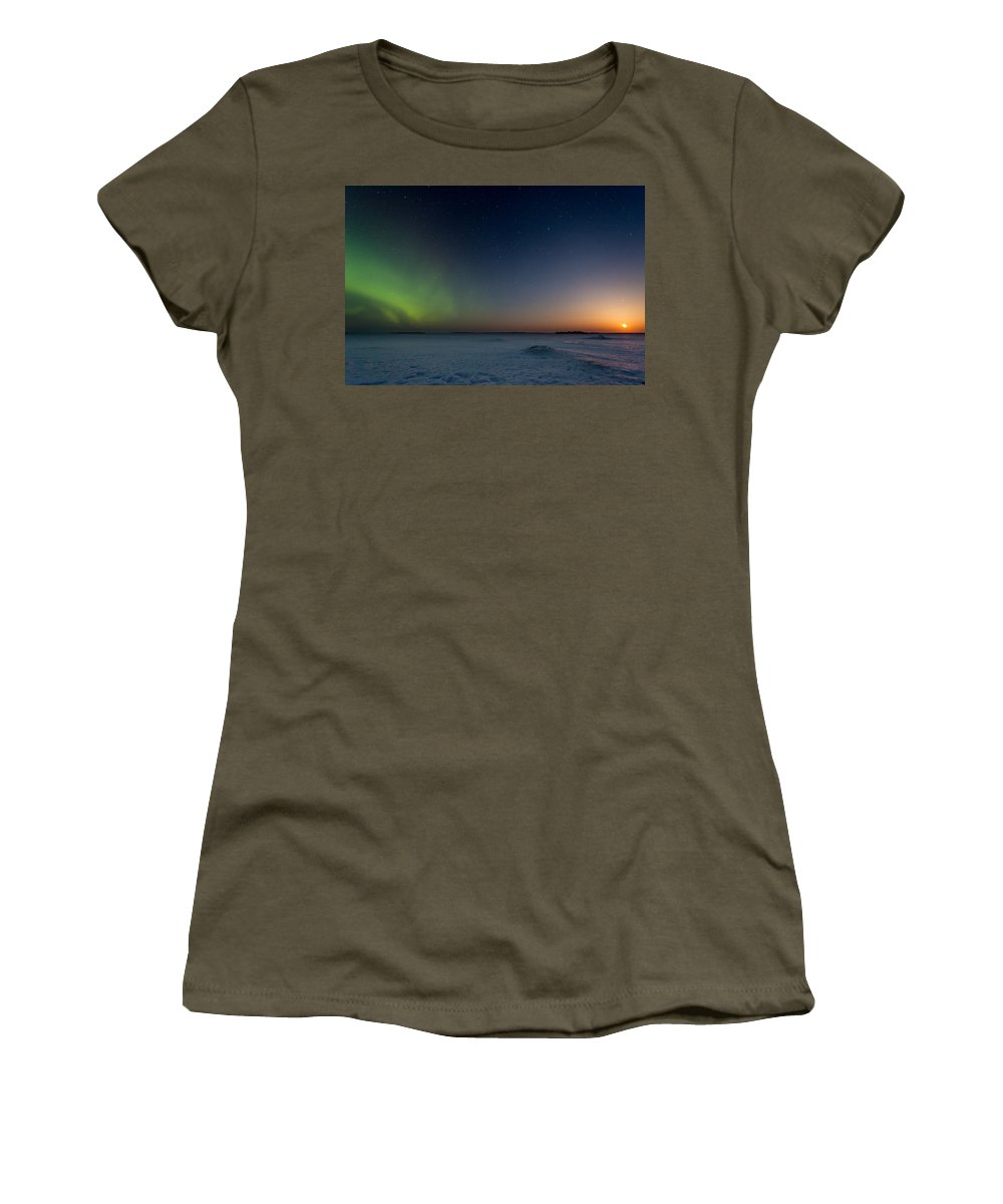 Astrophotography Women's T-Shirt (Athletic Fit) featuring the photograph Moonrise And Aurora by Jakub Sisak