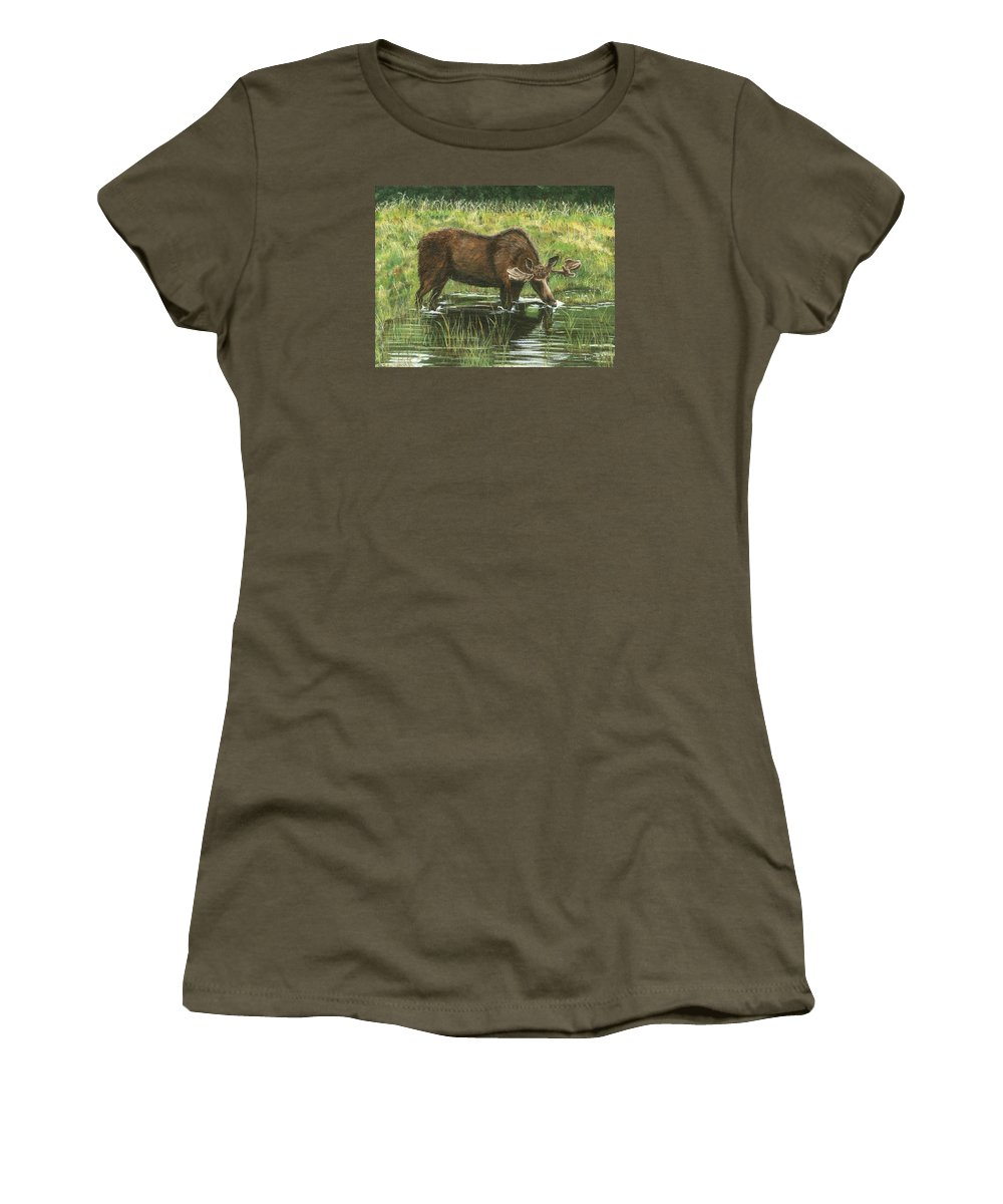Moose Women's T-Shirt featuring the painting Moose In Alaska by Lucinda V VanVleck