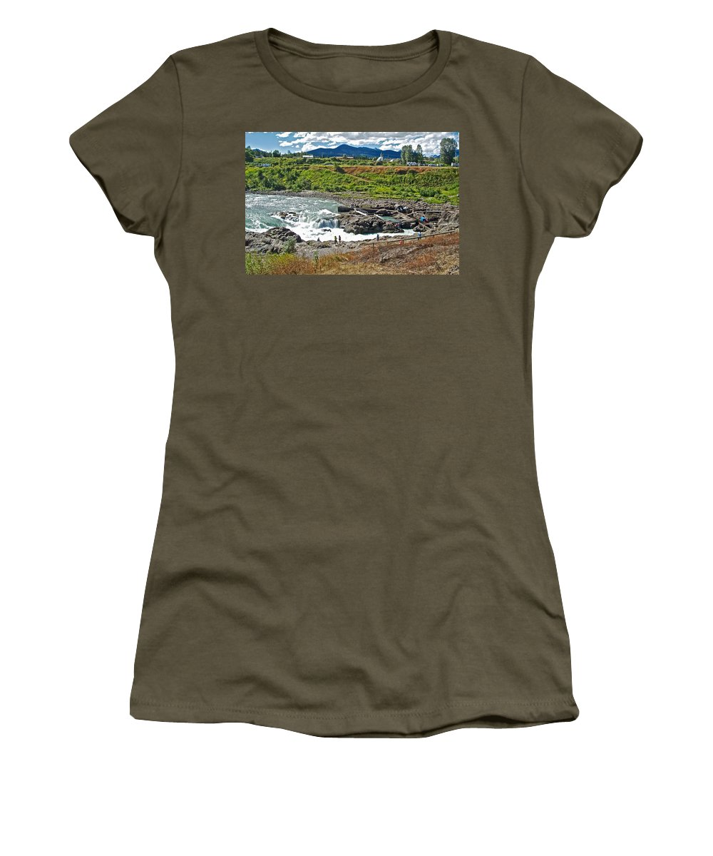 Moricetown Falls And Canyon Fishing Operation On The Bulkley River In Moricetwown Women's T-Shirt (Athletic Fit) featuring the photograph Moricetown Falls And Canyon Fishing Operation On The Bulkley River In Moricetwown-british Columbia by Ruth Hager