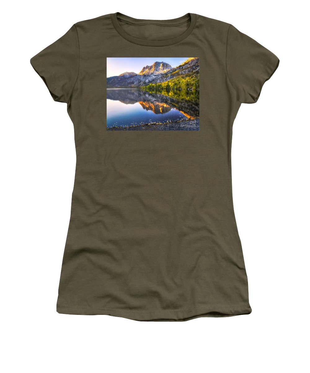 June Lake Women's T-Shirt featuring the photograph Morning Glow by Anthony Bonafede