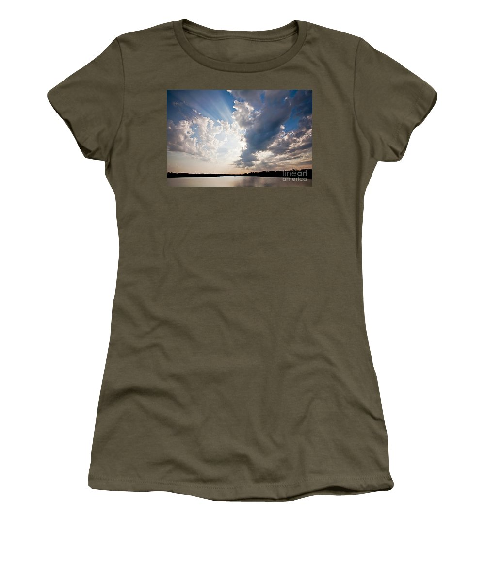 Rays Women's T-Shirt featuring the photograph Morning Rays by Joan McCool