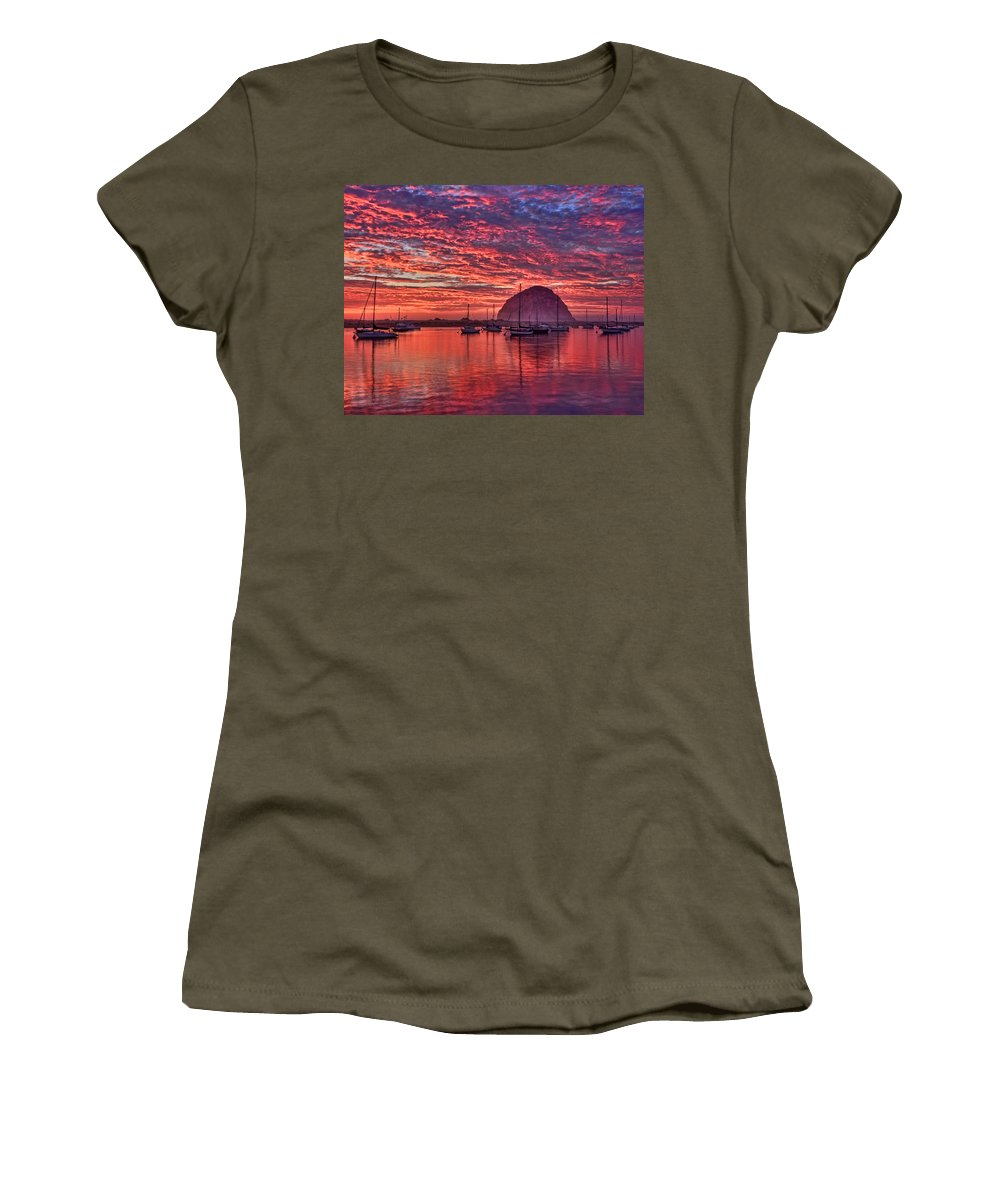 Beach Women's T-Shirt (Athletic Fit) featuring the photograph Morro Bay On Fire by Beth Sargent