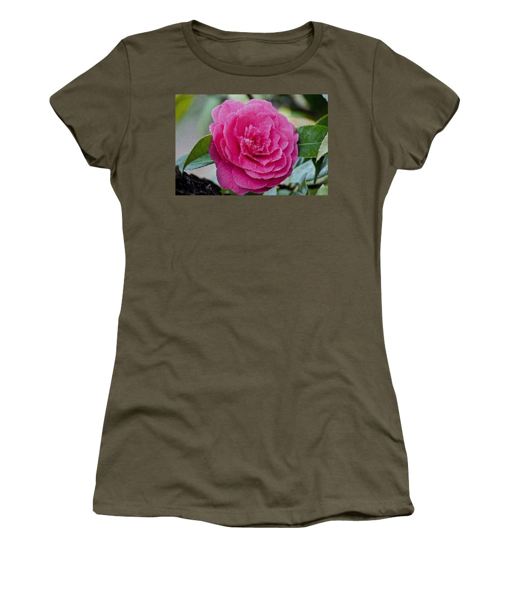 Mosaic Camillia Flower Women's T-Shirt (Athletic Fit) featuring the photograph Mosaic Camillia by Tikvah's Hope