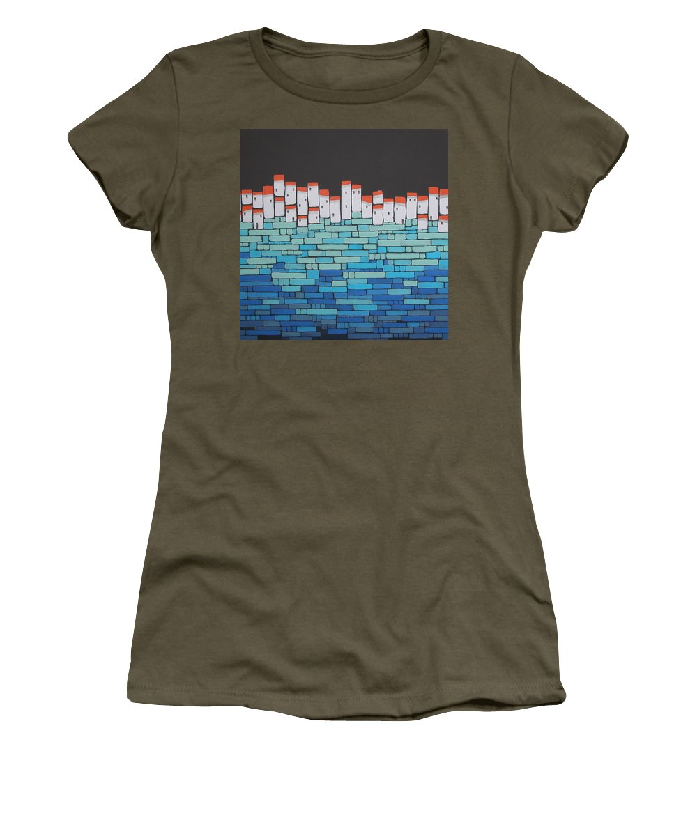 Mosaic Village Women's T-Shirt featuring the painting Mosaic Village 5 by Rhodes Rumsey