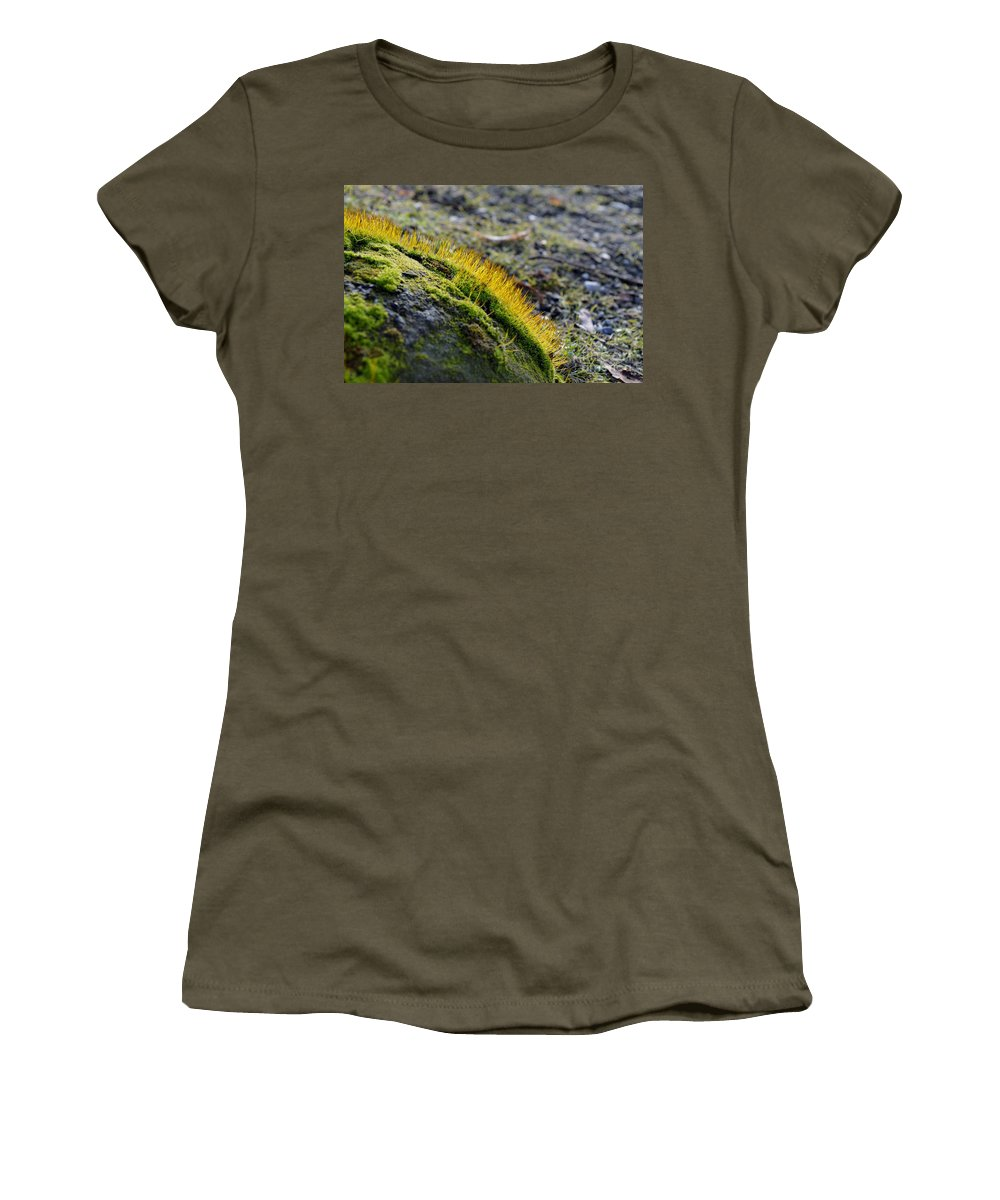 Close-up Women's T-Shirt featuring the photograph Moss In The Light by Felicia Tica