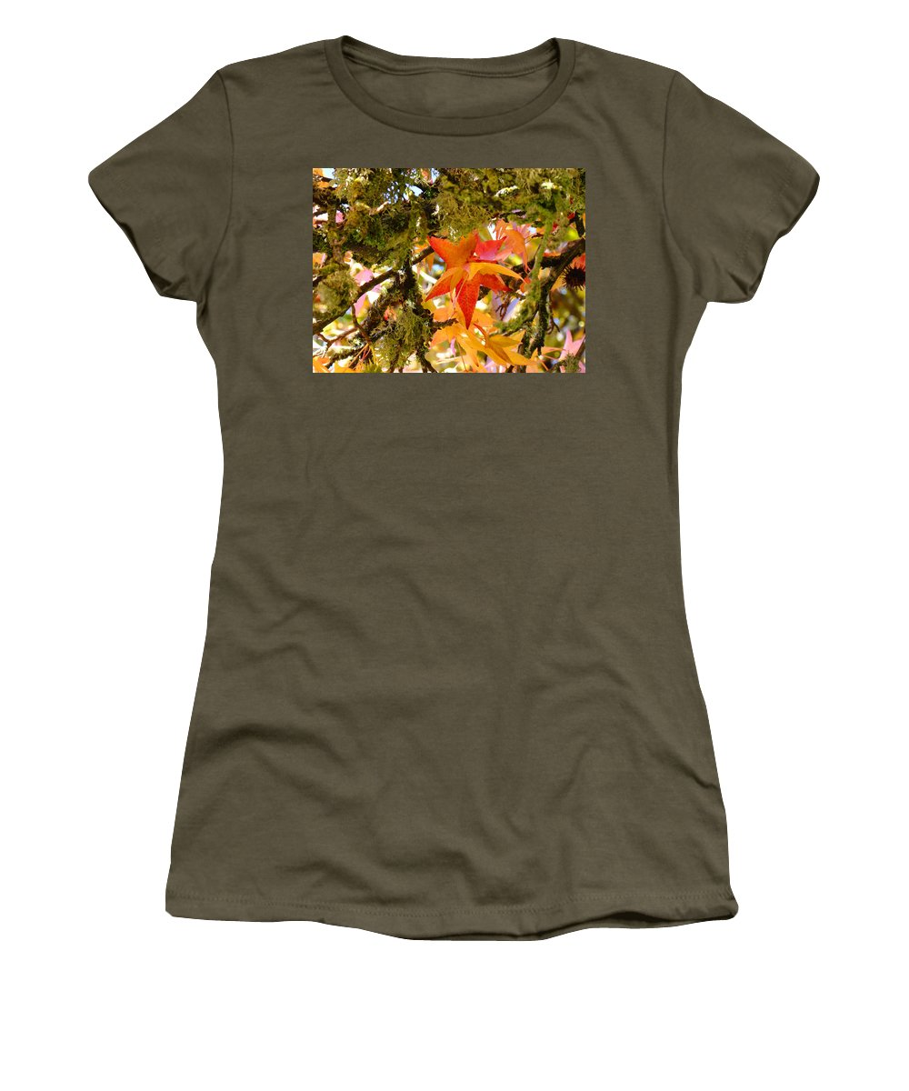 Green Women's T-Shirt featuring the photograph Mossy Lichen Tree Leaves Art Prints Autumn by Baslee Troutman