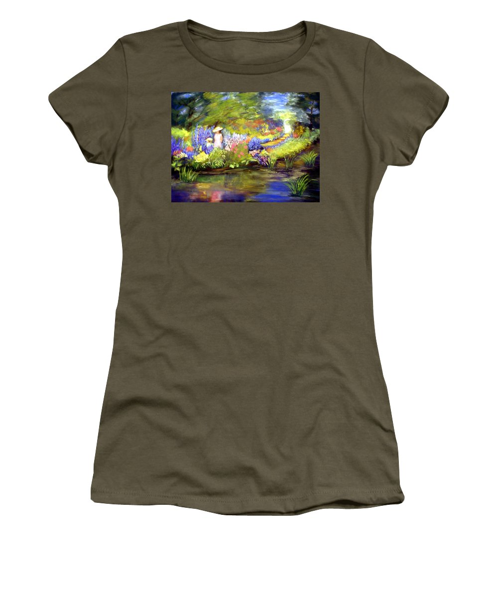 Flower Garden Women's T-Shirt (Athletic Fit) featuring the painting Mother And Daughter by Gail Kirtz