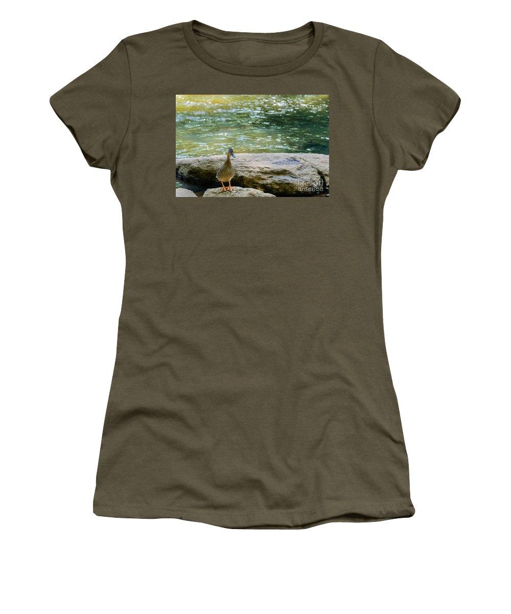 Mother Women's T-Shirt featuring the photograph Mother Duck by Elvis Vaughn