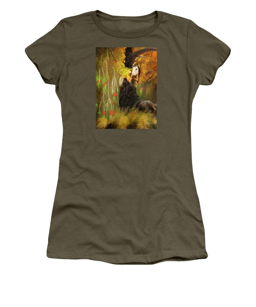 Woman Women's T-Shirt featuring the painting Mother Nature And Her White Horse by Angela Stanton