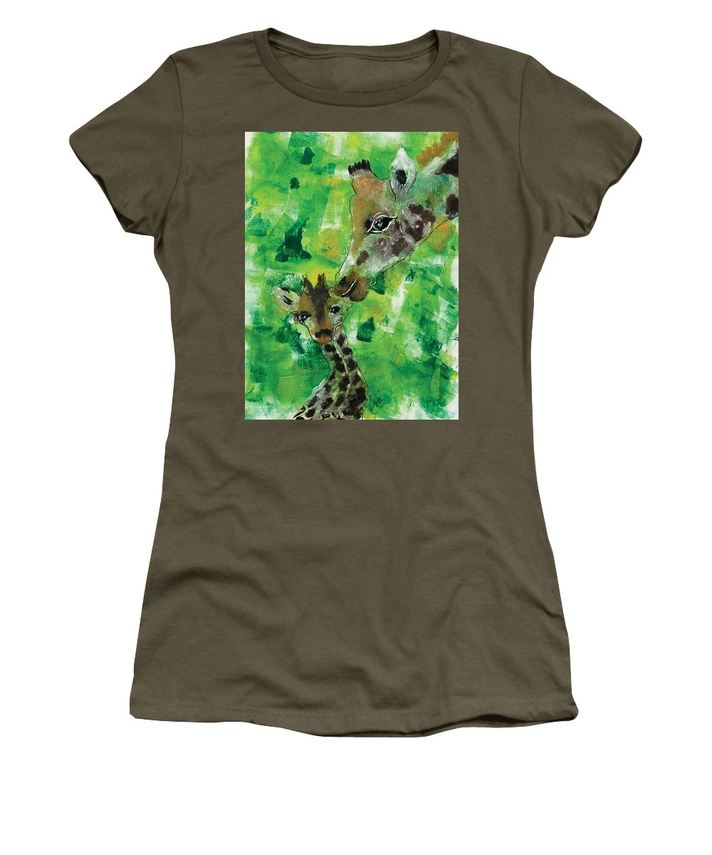 Giraffes Women's T-Shirt featuring the mixed media Motherly Love by Cori Solomon