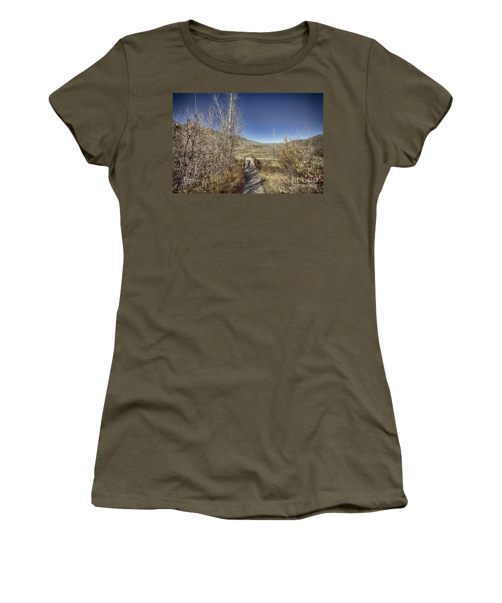 Ice Women's T-Shirt featuring the photograph Mountain Creek Bridge by Douglas Barnard