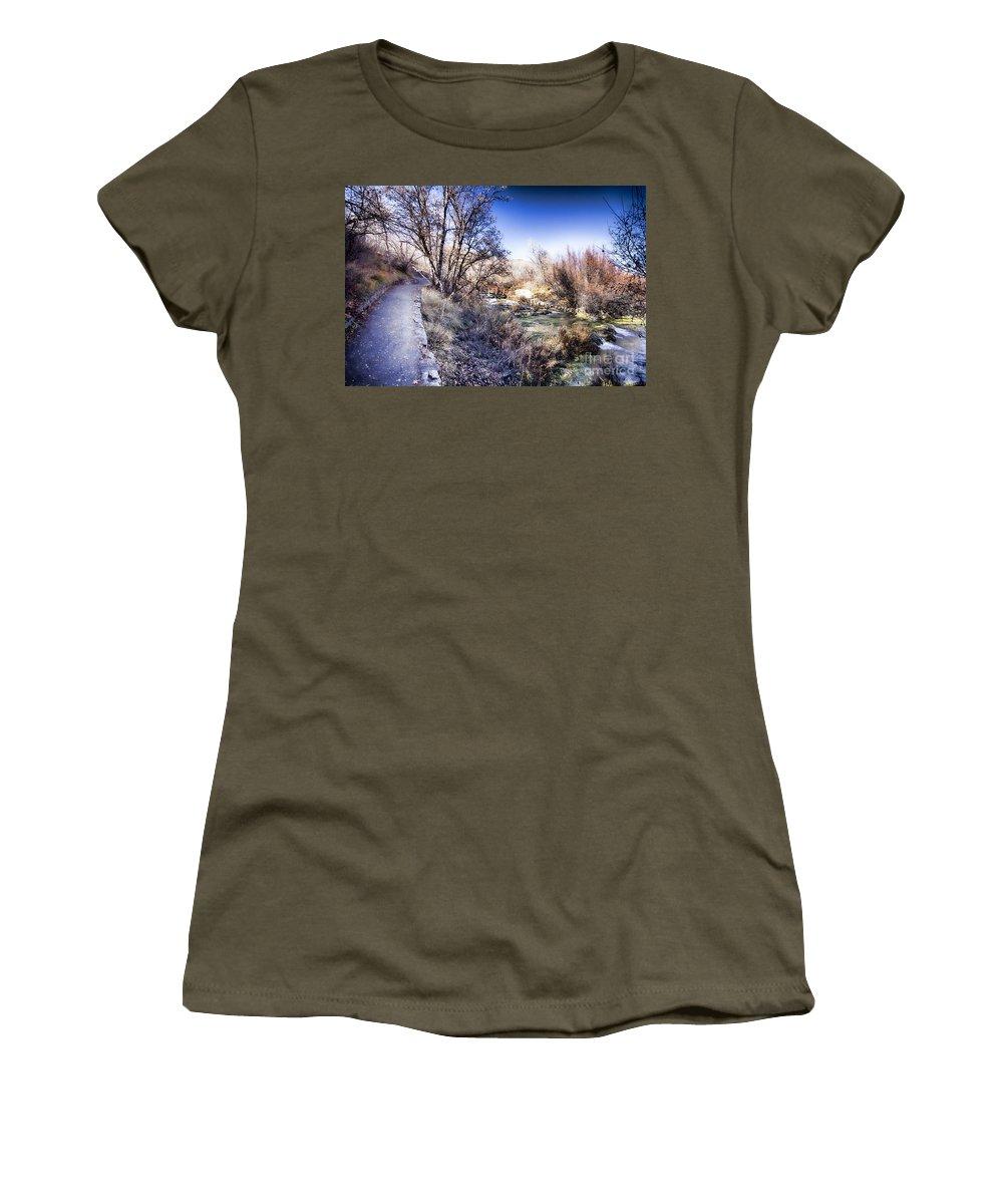 Ice Women's T-Shirt featuring the photograph Mountain Creek Path-sundance Utah by Douglas Barnard