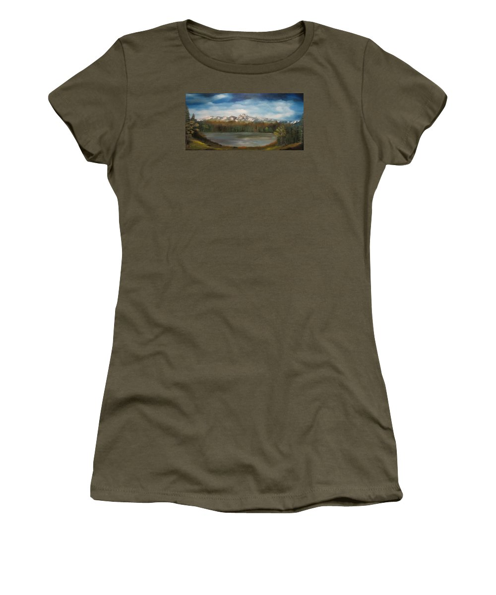 Mountains Women's T-Shirt featuring the painting Mountain Lake by Dawn Nickel