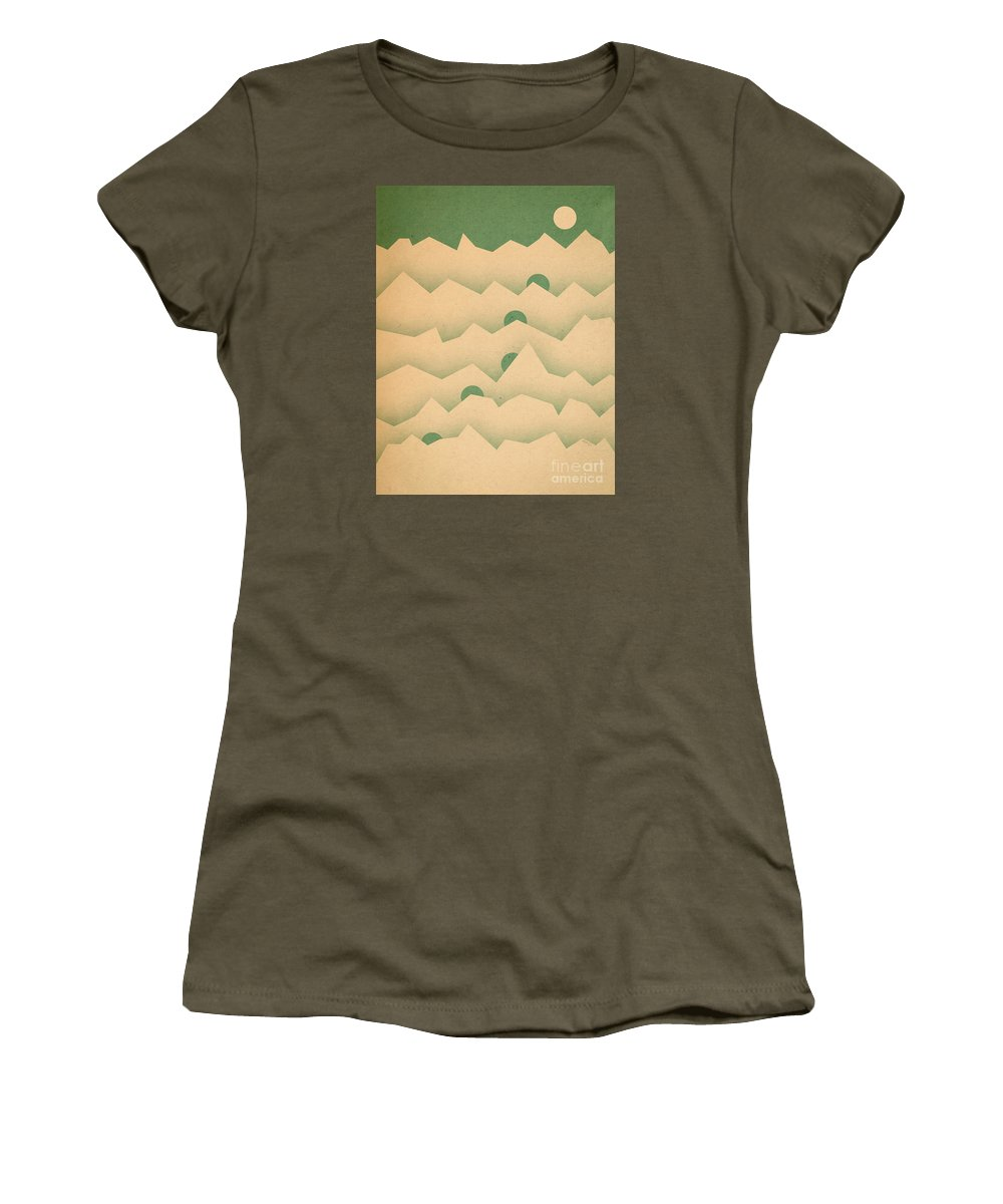 Mountains Women's T-Shirt featuring the digital art Mountain Moon Rising by Phil Perkins