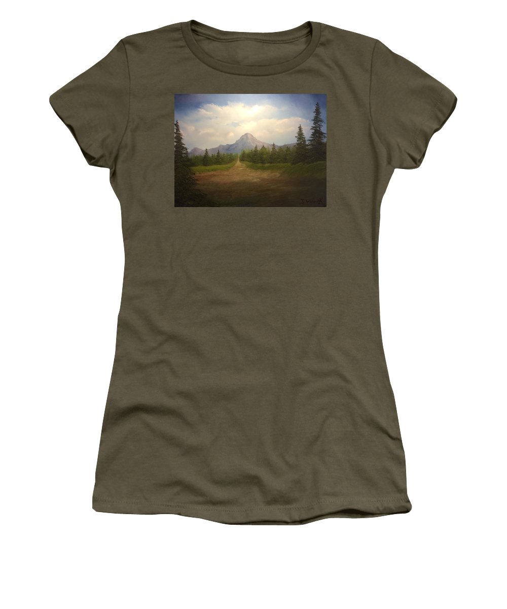 Landscape. Oil Painting. Mountains Sky. Clouds. Evergreens. Women's T-Shirt featuring the painting Mountain Run Road by Justin Wozniak