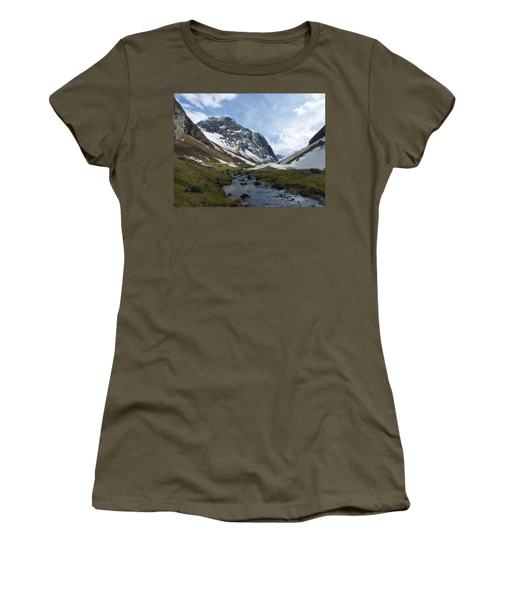 Women's T-Shirt (Athletic Fit) featuring the photograph Mountain Stream by Katerina Naumenko