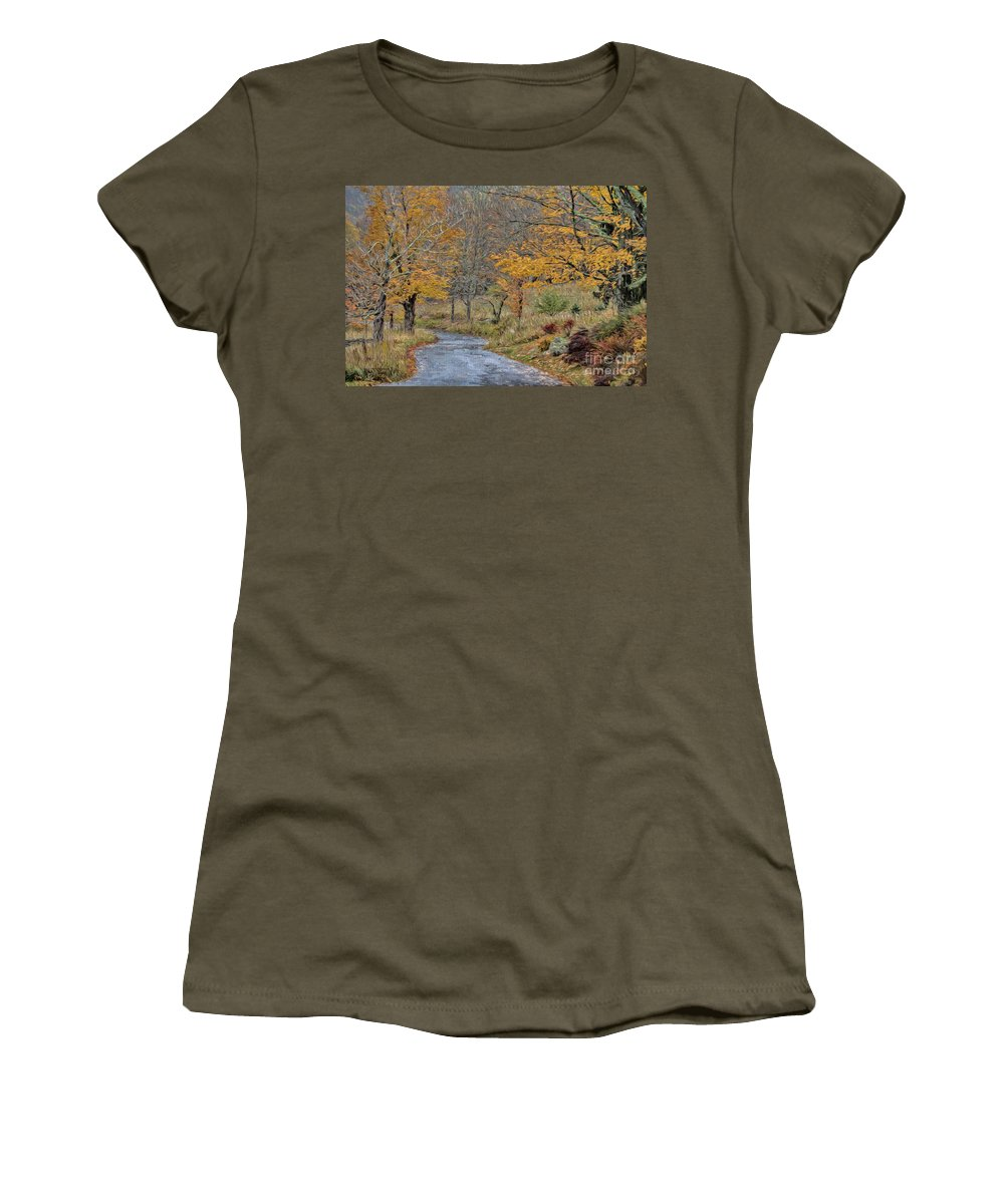 Autumn Women's T-Shirt (Athletic Fit) featuring the photograph Moving On Down The Road by Deborah Benoit