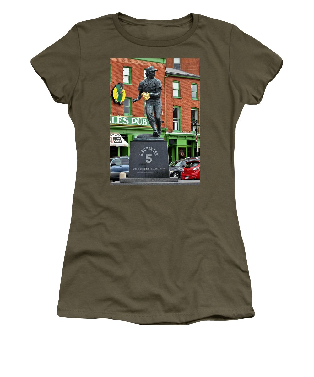 Brooks Robinson Women's T-Shirt (Athletic Fit) featuring the photograph Mr. Robinson's Neighborhood by Christopher Miles Carter