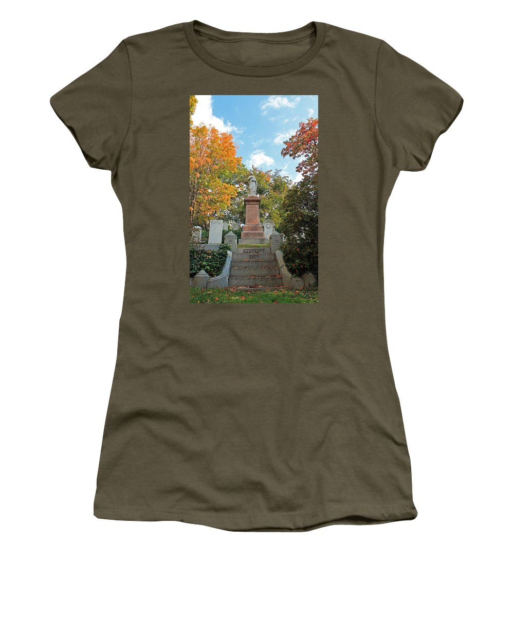Mt Auburn Cemetery Women's T-Shirt featuring the photograph Mt Auburn Cemetery 1 by Michael Saunders