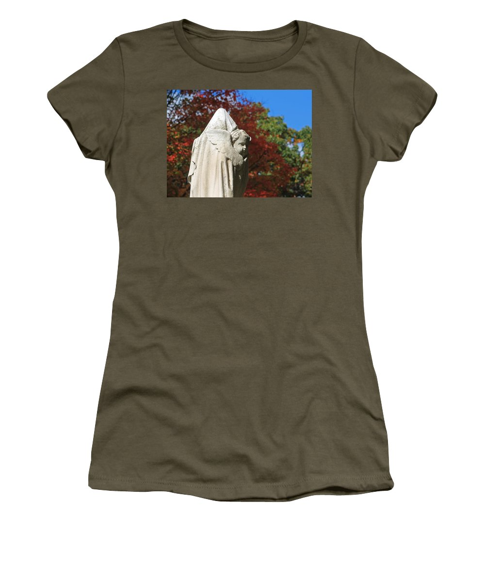 Mt Auburn Cemetery Women's T-Shirt featuring the photograph Mt Auburn Cemetery 8 by Michael Saunders