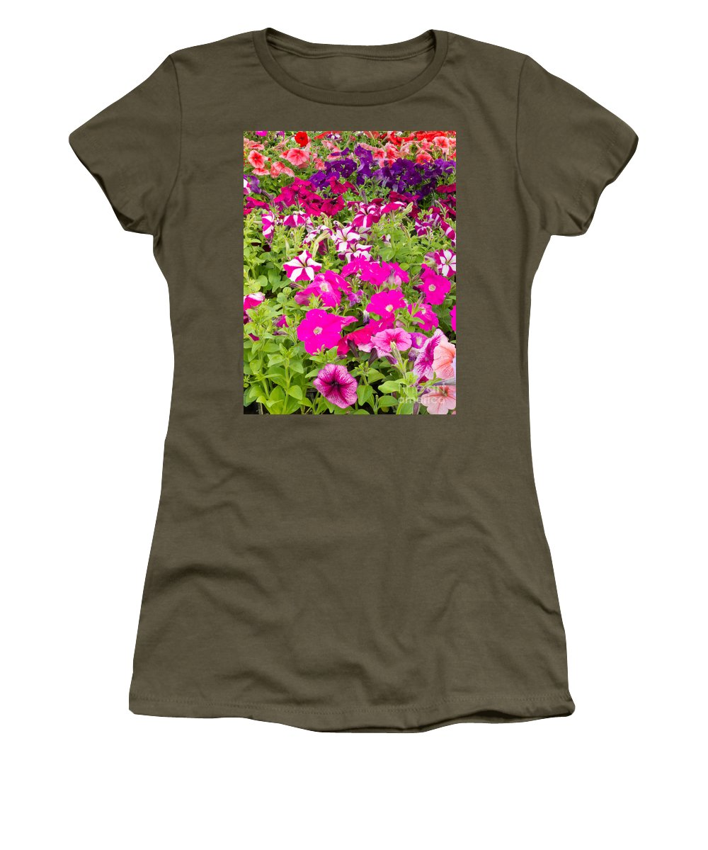 Agriculture Women's T-Shirt featuring the photograph Multi-colored Blooming Petunias Background by Stephan Pietzko