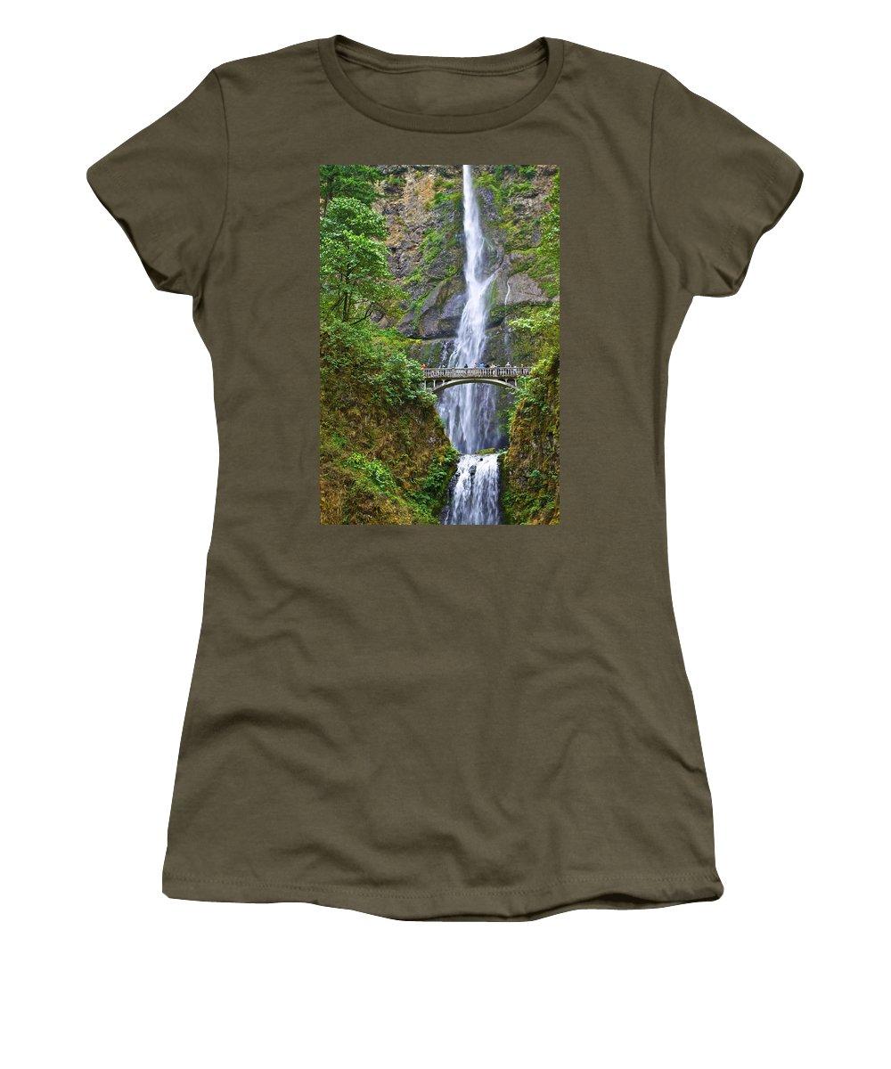 Waterfalls Women's T-Shirt featuring the photograph Multnomah Falls 4 by SC Heffner
