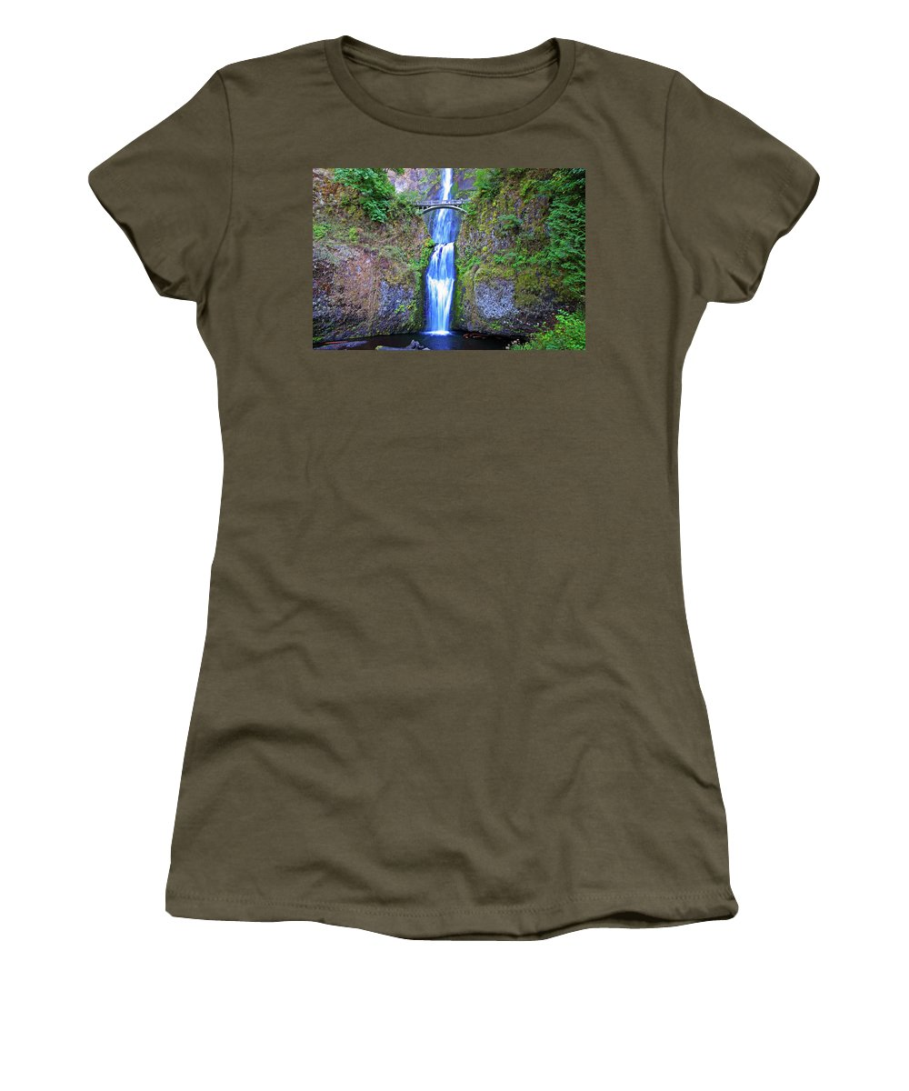 Waterfalls Women's T-Shirt featuring the photograph Multnomah Falls by Peter Tellone