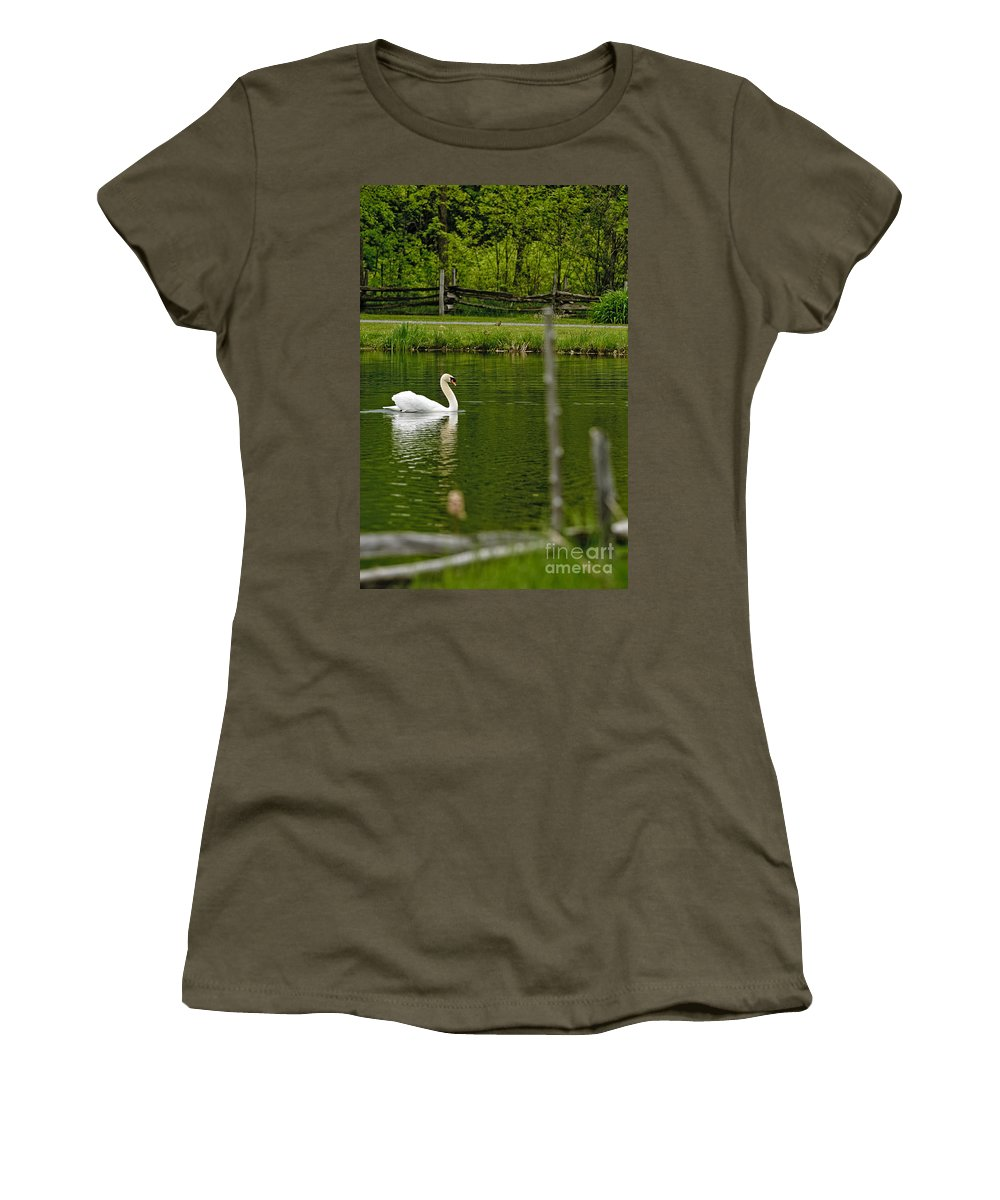 Mute Swan Women's T-Shirt featuring the photograph Mute Swan Pictures 195 by World Wildlife Photography