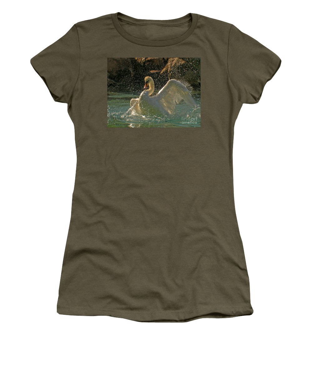 Animal Women's T-Shirt featuring the photograph Mute Swan by Ron Sanford