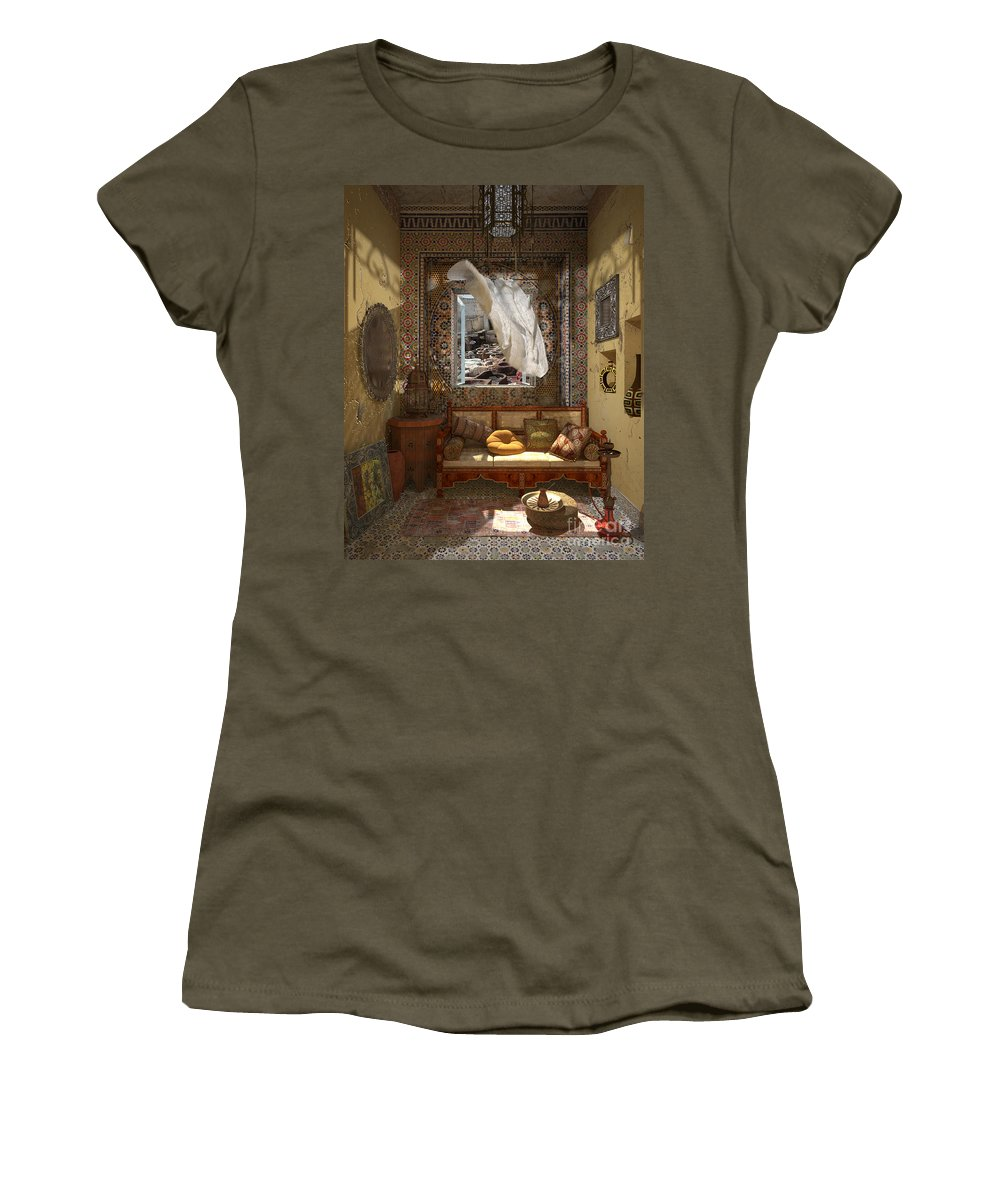 3d Women's T-Shirt (Athletic Fit) featuring the painting My Art In The Interior Decoration - Morocco - Elena Yakubovich by Elena Yakubovich