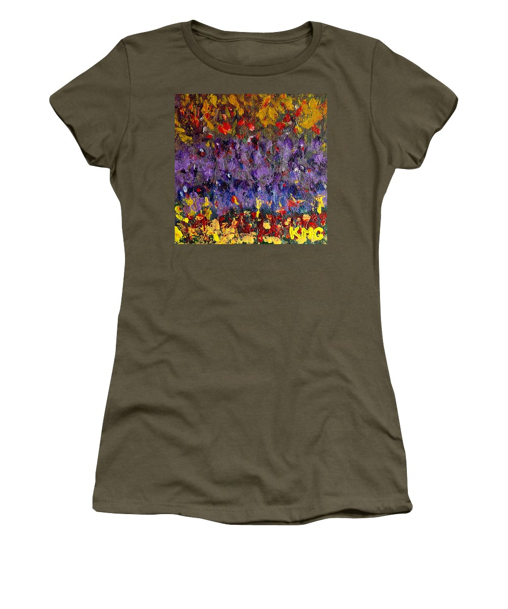 Acrylic Women's T-Shirt featuring the painting My Happy Place by Kimberly Maxwell Grantier