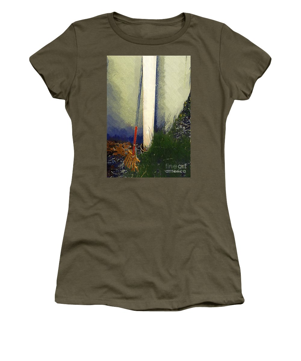 Rake Women's T-Shirt featuring the painting My Old Rake by RC DeWinter
