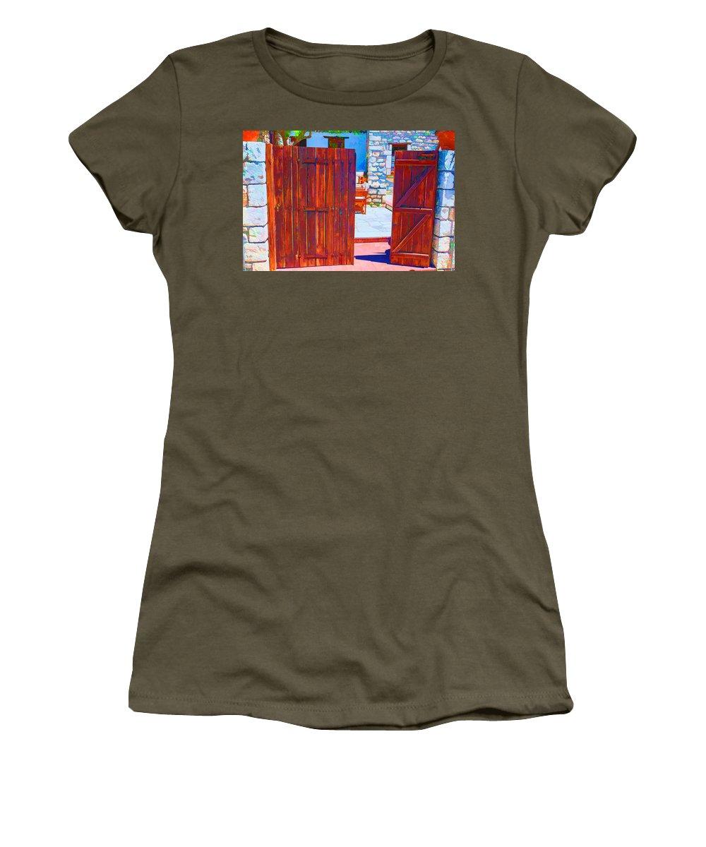 Greece Women's T-Shirt featuring the digital art Mysterious Courtyard by Roy Pedersen