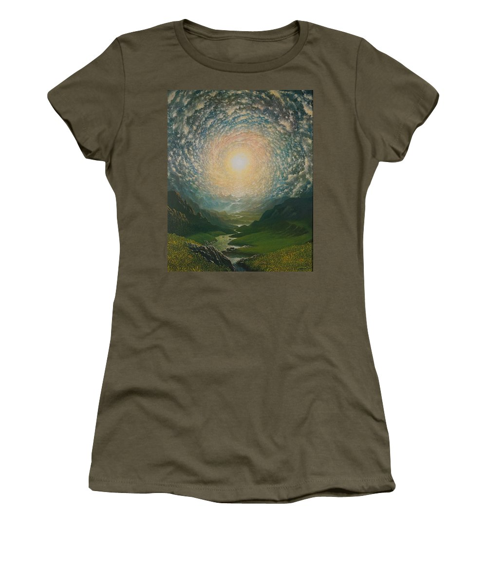 Sun Women's T-Shirt featuring the painting Mystic Valley by Karma Moffett
