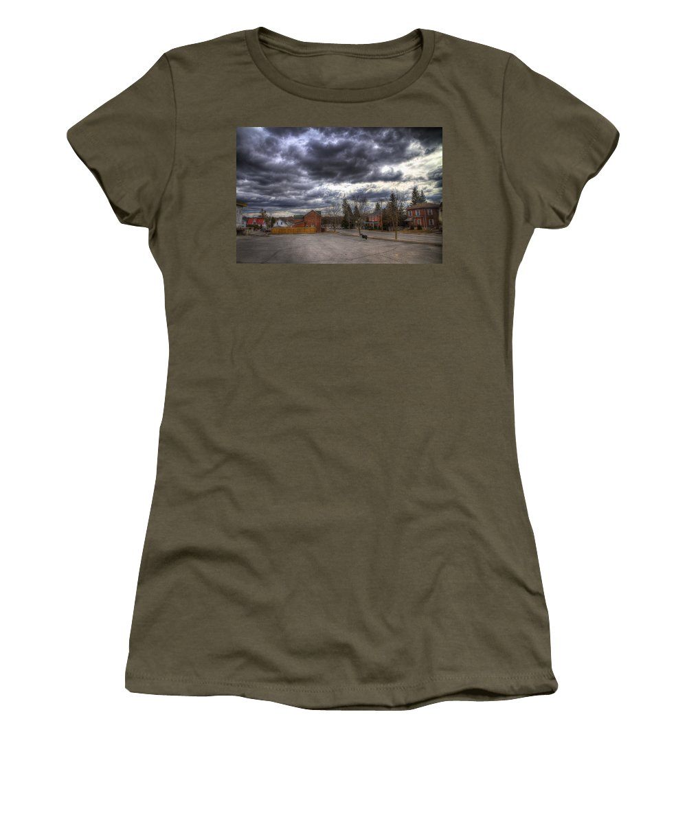 Exterior Women's T-Shirt (Athletic Fit) featuring the photograph Napanee Sky Easter by John Herzog