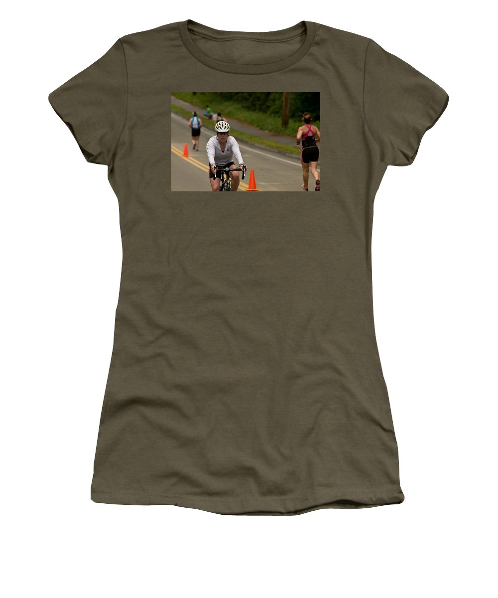 """nashua Sprint Y-triathlon"" Women's T-Shirt featuring the photograph Nashua Sprint Y-tri Focused by Paul Mangold"