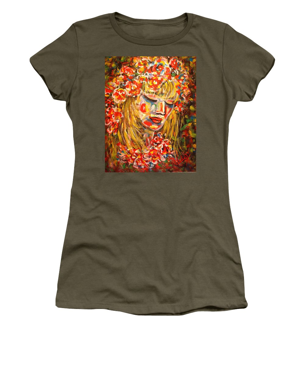 Girl Women's T-Shirt featuring the painting Nature Girl by Natalie Holland