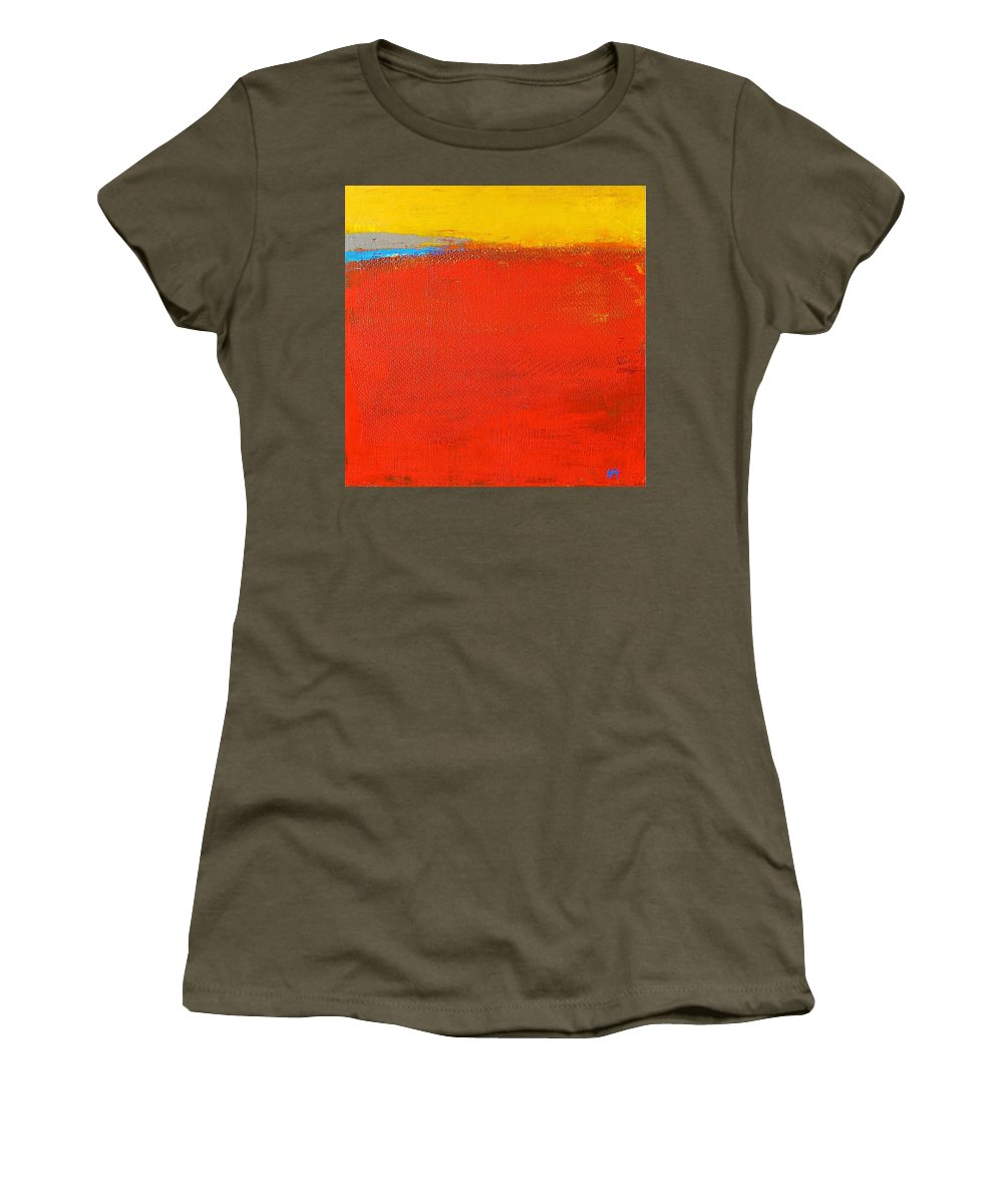 Landscape Women's T-Shirt featuring the painting Nature Rouge by Habib Ayat