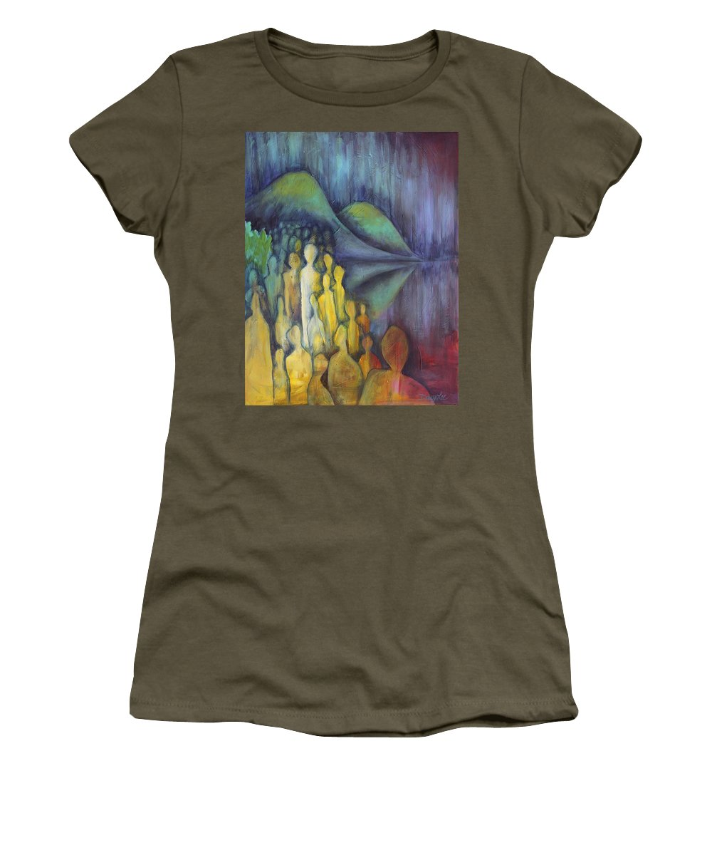 Figures Women's T-Shirt featuring the painting Neither Here Nor There by Darcy Lee Saxton