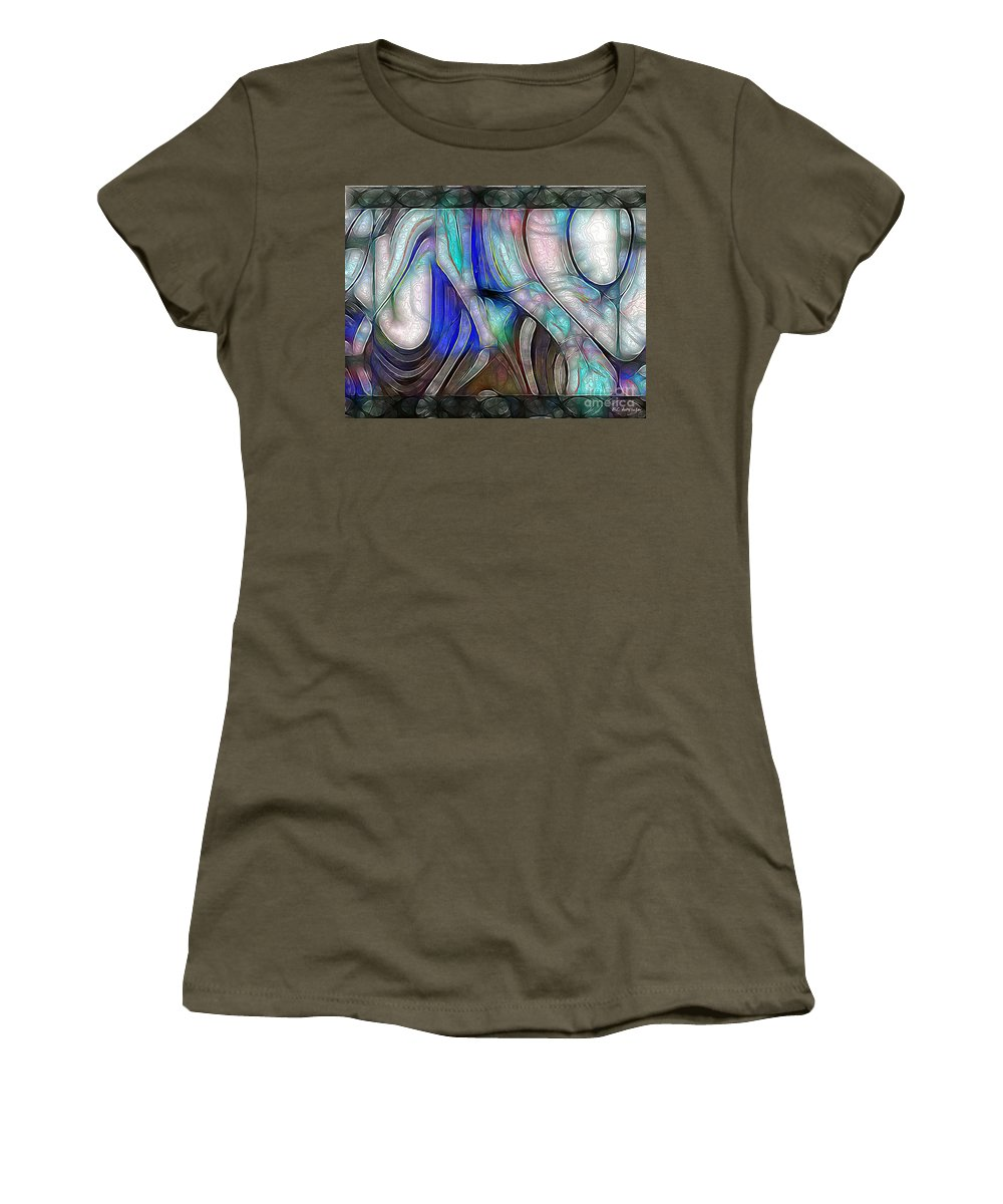 Abstract Women's T-Shirt (Athletic Fit) featuring the painting Nerve Center by RC DeWinter