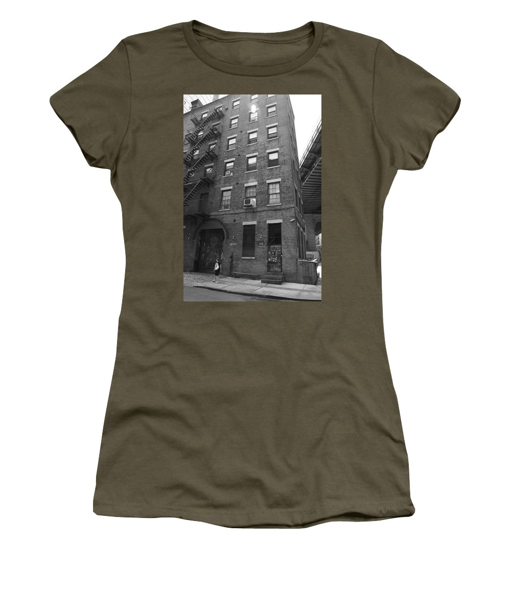 Apartments Women's T-Shirt (Athletic Fit) featuring the photograph New York Street Photography 9 by Frank Romeo