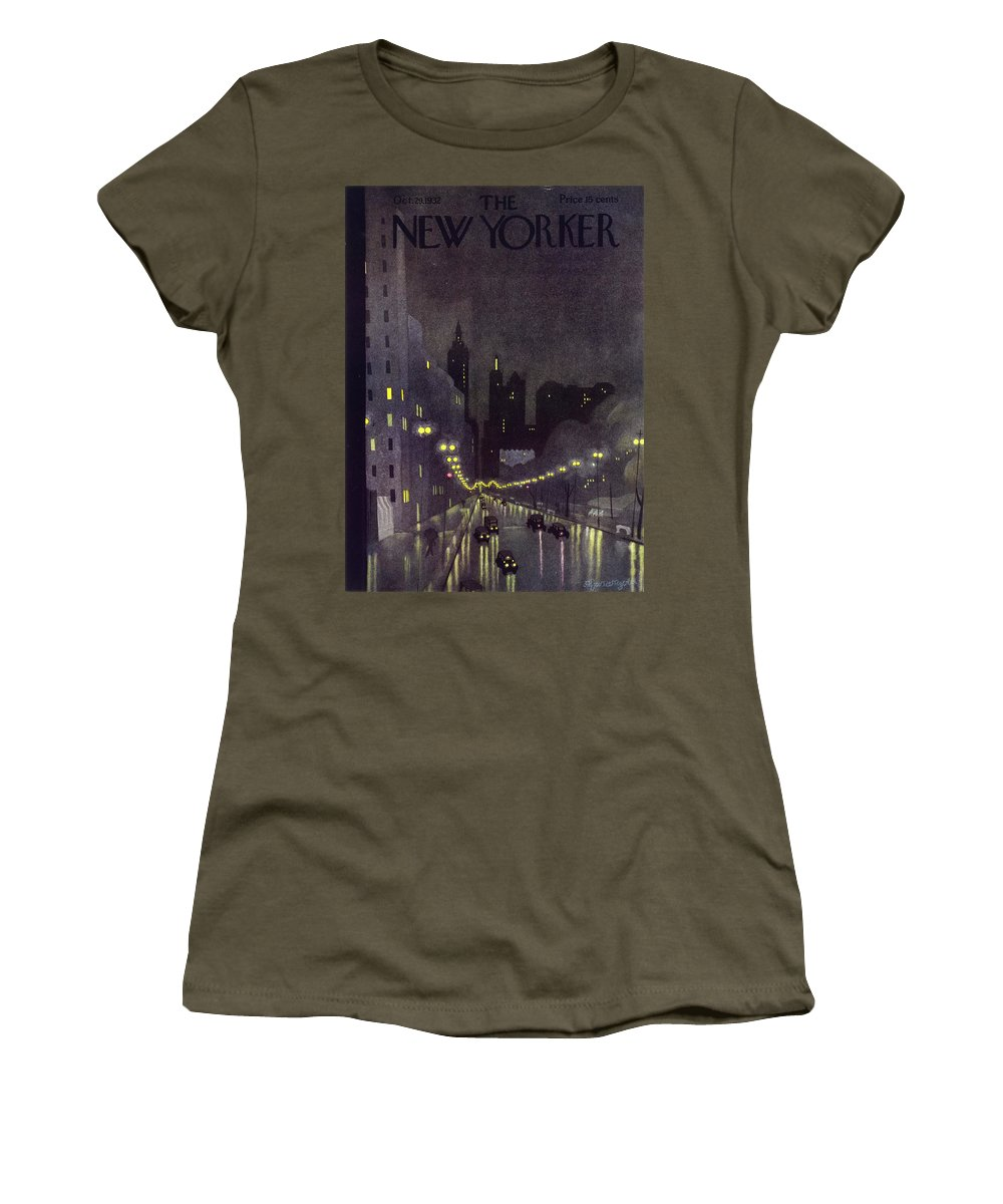 Illustration Women's T-Shirt featuring the painting New Yorker October 29 1932 by Arthur K Kronengold