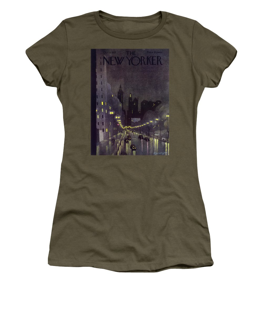 Illustration Women's T-Shirt featuring the painting New Yorker October 29 1932 by Arthur K. Kronengold