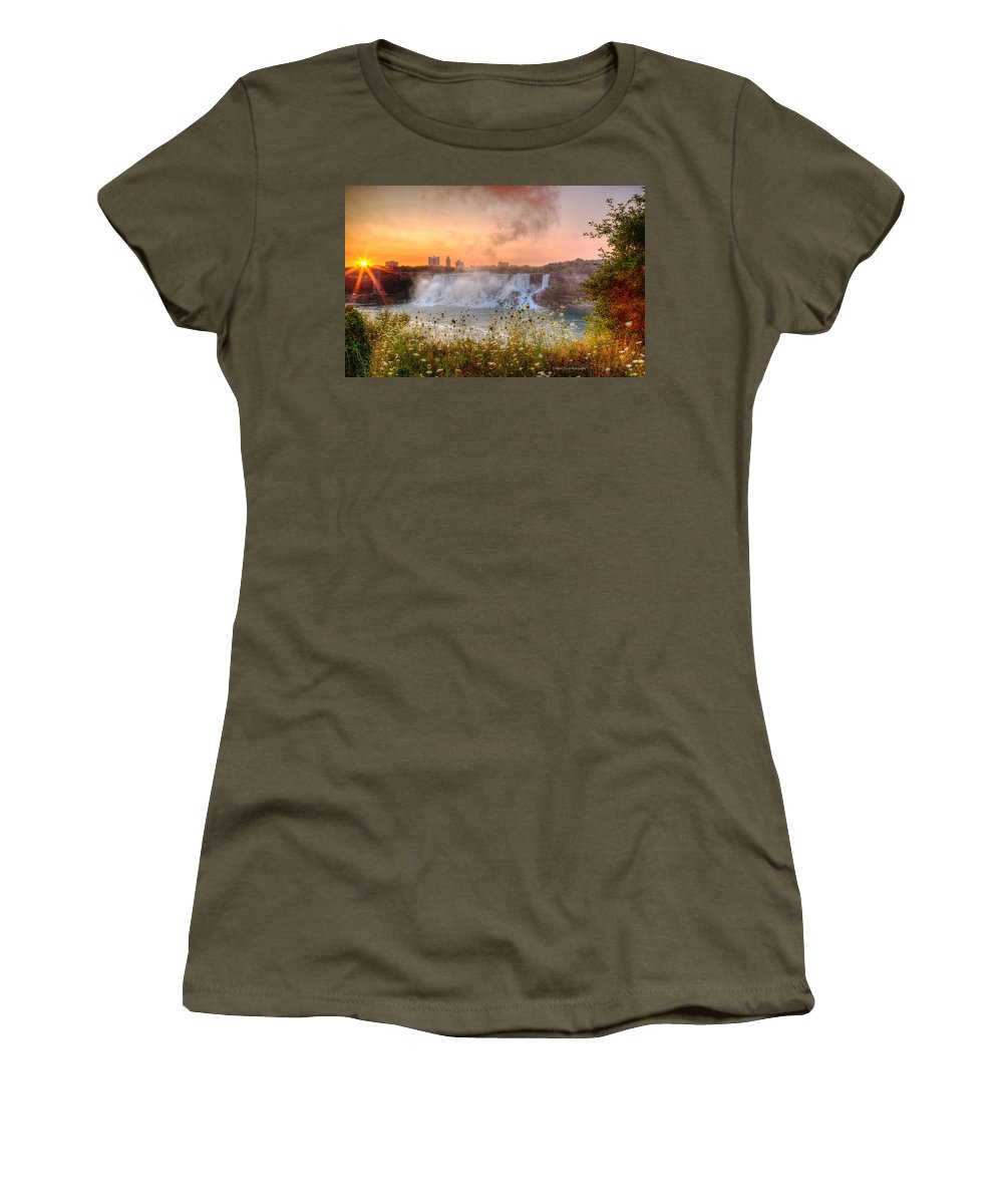 Niagara Falls Women's T-Shirt featuring the photograph Niagara Falls Canada Sunrise by Wayne Moran