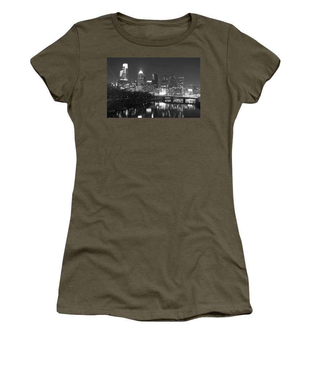 Philadelphia Night Black White City View Reflectios Women's T-Shirt (Athletic Fit) featuring the photograph Nighttime In Philadelphia by Alice Gipson