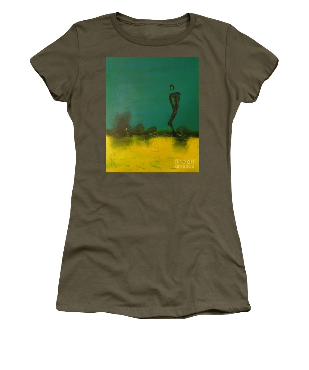 Teal Women's T-Shirt featuring the painting No Idea by Kitty Mecham
