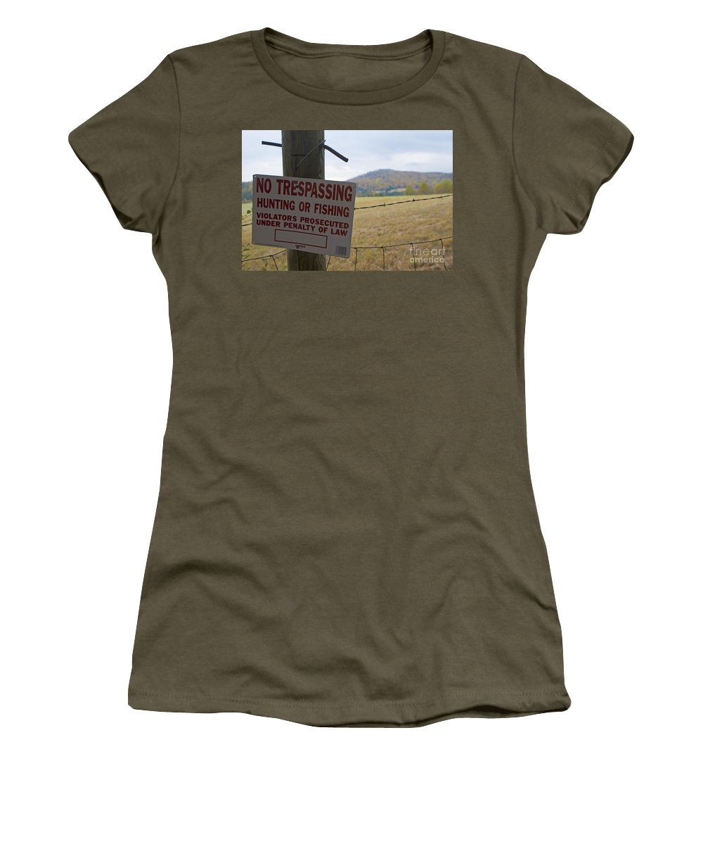 No Trespassing Sign Women's T-Shirt (Athletic Fit) featuring the photograph No Tresspassing by Jason O Watson