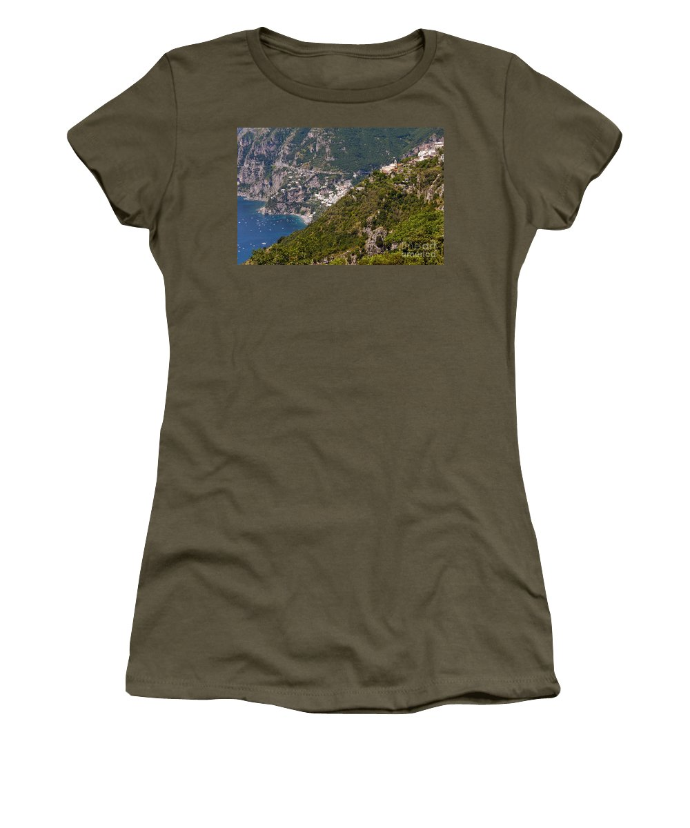 Postitano Italy Amalfi Coast Mediterranean Sea Seas Nacelle Village Villages Water Boat Boats Building Buildings Structure Structures Landscape Landscapes Women's T-Shirt featuring the photograph Nocelle Above Postitano by Bob Phillips