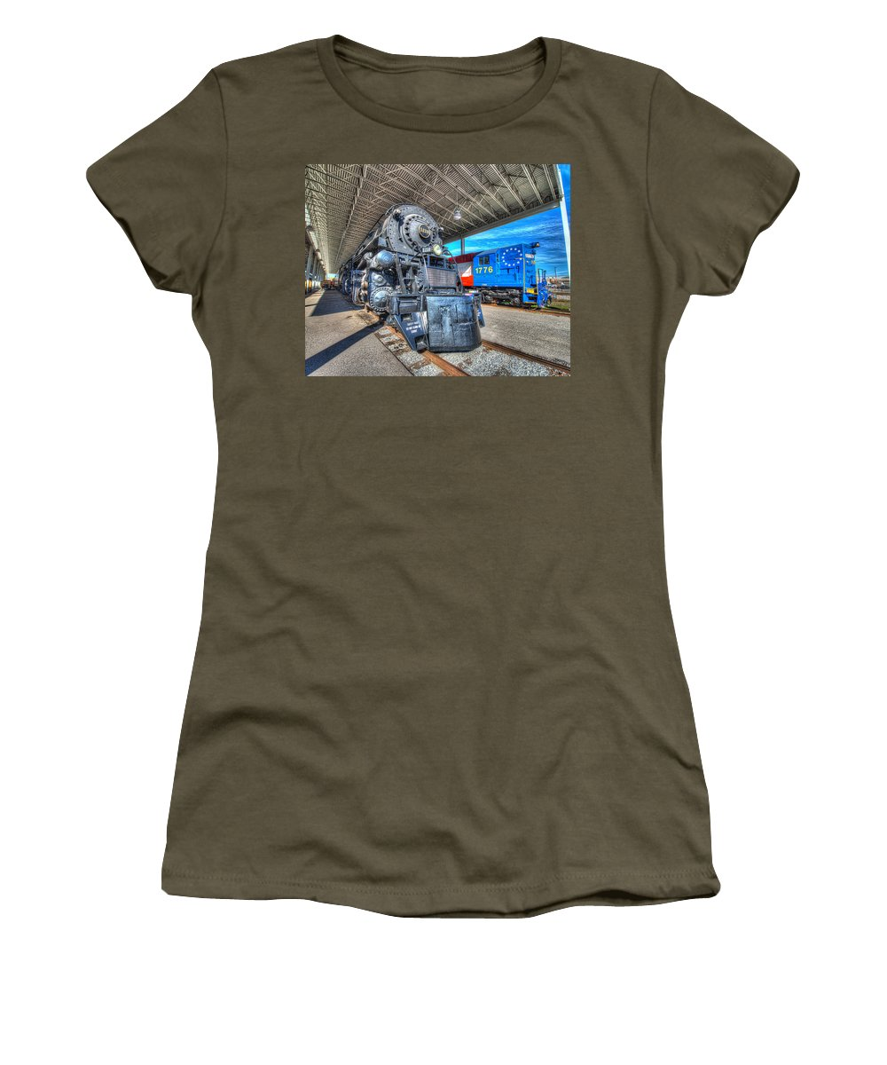 Historic Women's T-Shirt (Athletic Fit) featuring the photograph Norfolk And Western 1218 And 1776 by Greg Hager