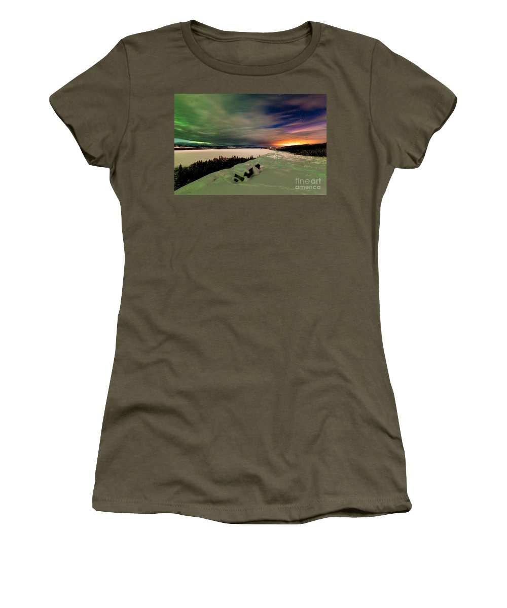 Alaska Women's T-Shirt featuring the photograph Northern Lights And City Light Pollution Night Sky by Stephan Pietzko